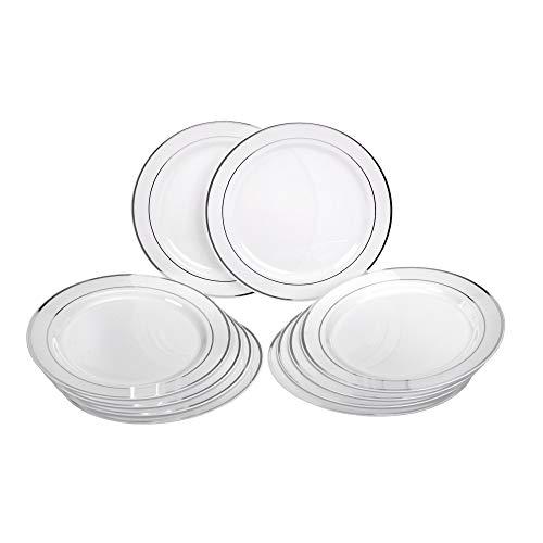 Lot de 10 assiettes plates solides en plastique jetables pour fête Ø 26 cm