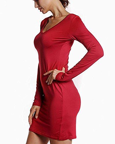Femmes Manche Longue Sans Bretelles Pack Hips Robe Rouge
