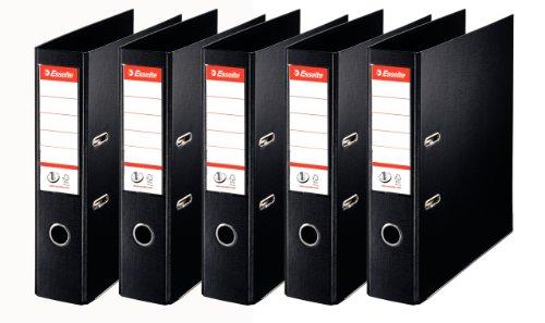 Esselte Lot de 5 Classeurs à Levier, pour l'Archivage, Couverture Plastique, A4, Dos 7,5cm, Noir, N°1 Power, 162570