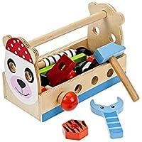 Giocattolo tradizionale in legno con scatola degli attrezzi Kit con chiave inglese, martello, bulloni e viti