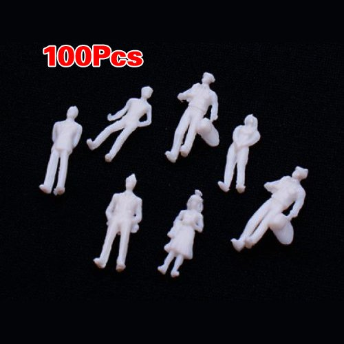 Dcolor 100 Stuecke Weiss Model Train Manschen Figuren Massstab HO TT (1 bis 100)
