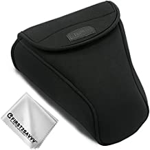First2savvv negro Funda Cámara Reflex Neopreno Protectora para Canon EOS T7i T6i T5i T4i 650D 80D 70D 60D 800D 77D 760D 750D 700D 50D 7D MkII 7D 6D MkII 6D 5D MkII Adecuado para 18-135,24-105,18-200 mm Lens + Paño de limpieza QSL-SLRL-C-A01G11