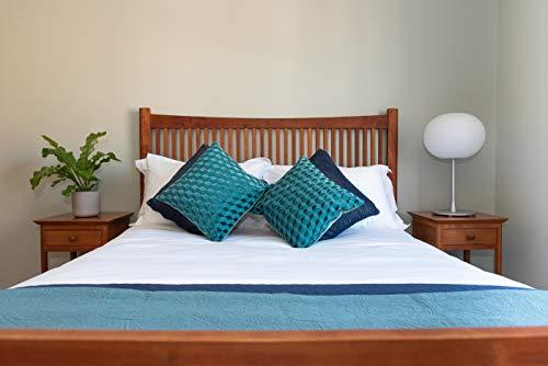 Linen Quarter - Juego de sábanas bajeras Ajustables, 100% algodón orgánico (Certificado Got), Color Blanco, algodón, Blanco, Matrimonio