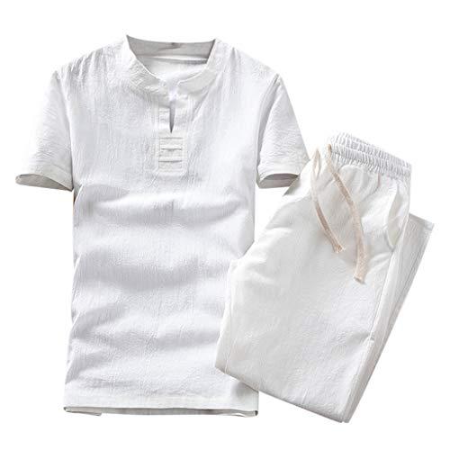 CICIYONER Leinenhemd + Leinenhose Herren Sommer Mode einfarbig Baumwolle und Leinen Kurzarm Hose Set Anzug Trainingsanzug (Größe: XL=EU-M, Weiß2) -