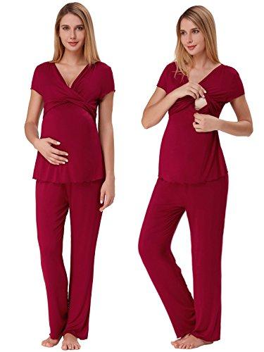 Umstandsmode Damen Schlafanzug Sommer Baumwolle Kurzarm Pjs mit Stillfunktionpyjama Hose Lang (Rot, Small)