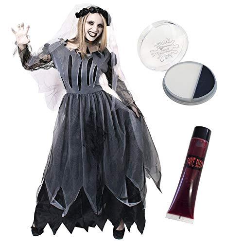 Dress Up Horror Kostüm - DAMEN BRAUT-ZOMBIE, GEIST, SCHWARZ SET-KOSTÜM MIT KLEID FACEPAINT FAKE BLOOD-IDEAL HORROR GRUSEL DRESSUP FÜR HALLOWEEN, KOSTÜMPARTYS IN DEN GRÖSSEN S-XL