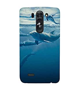Printvisa Dolphins Swimming In Water Back Case Cover for LG G3 Beat::LG G3 Vigor::LG G3s (Dual)