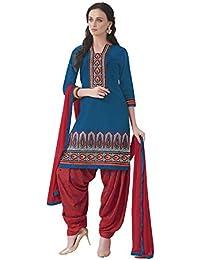 Lords Firozi Satin Cotton Unstitched Patiala Salwar Suit