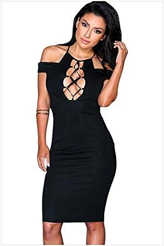 YLSZ-Slim Skirt T-Shirt Chest Pierced Hip Knee Skirt Exposed Backpack Slim Dress,Black,S