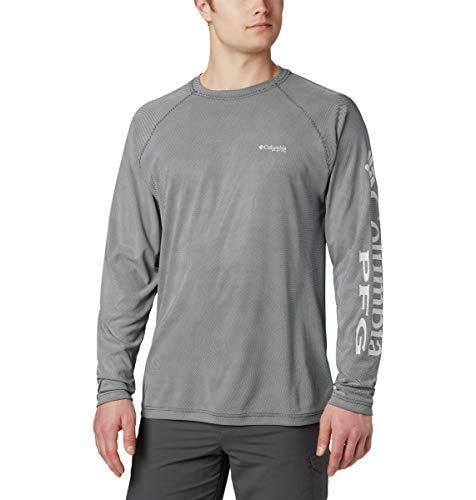 Columbia Men's Terminal Deflector Long Sleeve, Black, Cool Grey, 4X/Tall