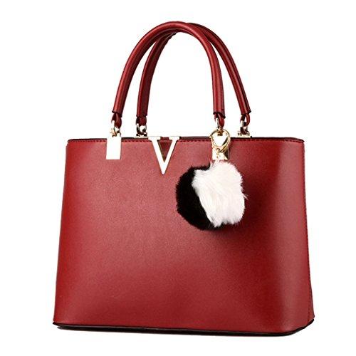 LaoZan Donne Pure Colour Grande Capacità Borsa A Tracolla Con Gli Accessori Rosso Vino Rosso