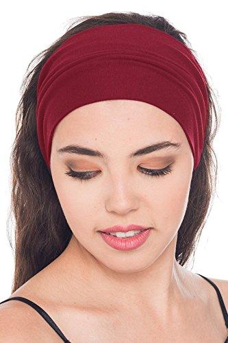 Deresina Headwear Baumwolle Stirnband für Dammen Frauen (Burgund - 3 pcs) (Glatze-mütze)