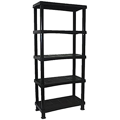 CrazyGadget® Storage Shelving Shelves Unit 5 Tier Racking Plastic for Home Living Room Garage - Extra Large (BLACK) - MADE IN UK - inexpensive UK light store.