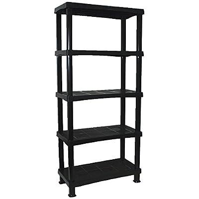 CrazyGadget® Storage Shelving Shelves Unit 5 Tier Racking Plastic for Home Living Room Garage - Extra Large (BLACK) - MADE IN UK - inexpensive UK light shop.