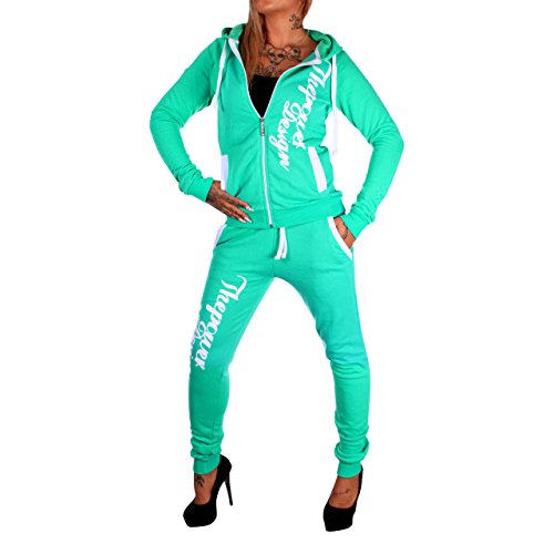 Damen Jogging-Anzug ThePower Design, Trainings-Hose-Jacke-Anzug aus 100% Baumwolle, mit Kapuze und Rippstrickbündchen, von XXS bis XXL (M, Mint-fällt klein aus) (Damen Anzug Design)