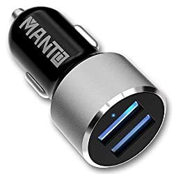 KFZ Ladegerät - MANTO Auto Ladegerät 2-Port Schnellladung Dual USB Car Charger Adapter Mini Auto Ladeadapter für iPhone / Android / Samsung / Huawei / Kindle / Tablet - Schwarz