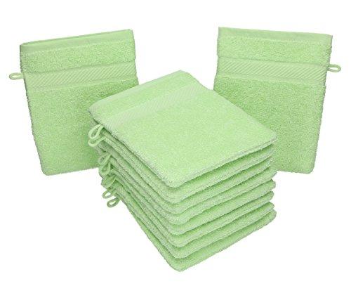 Betz 10 Stück Waschhandschuhe Palermo 100% Baumwolle Waschlappen Set Größe 16x21 cm Farbe grün - Grüne Waschlappen
