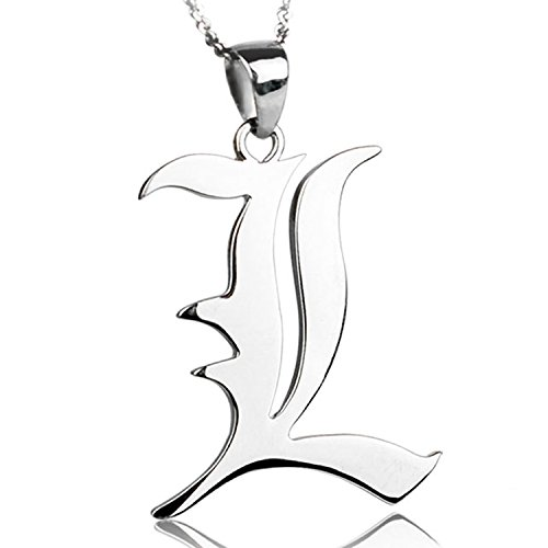 CoolChange Death Note Halskette mit L Anhänger aus echtem 925 (Kostüm Detektiv 20)