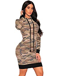 Nuovo da donna mimetico Hoddie felpa t-shirt dress-vestito da indossare  vestiti casual 137b0a01c6a