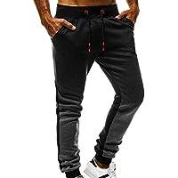 Rovinci_Pantalones ¡Gran promoción Hombres Moda Casual Gradiente Impreso Suelto Patchwork Jogger Pantalones de chándal Gimnasio Pantalones Bolsillos Color sólido y Pantalones Deportivos Pies