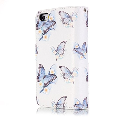 iPhone 6S Plus Hülle Case,iPhone 6 Plus Hülle Case,Gift_Source [Multi Card Brieftasche] Premium Magnetic PU Leder Brieftasche mit Built-in 9 Card Slots Folio Flip Hülle Case für Apple iPhone 6S Plus/6 E01-06-Blau Butterfly