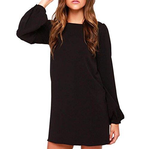 Vestido de invierno de otoño, RETUROM Mujeres Casual Vestidos de fiesta de manga larga simple (XL, Negro)