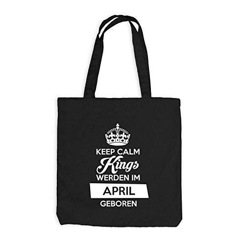 Jutebeutel - Keep Calm Kings werden im April geboren - Birthday Geburtstag Schwarz