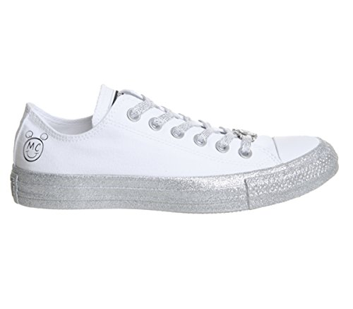 Converse Womens x Miley Cyrus Chuck Taylor All Star Lo Sneaker (Mens 3/Womens 5, White Pure Platinum Black 9572)