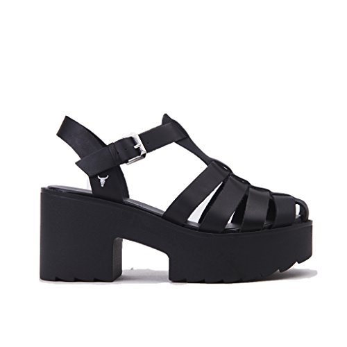 Windsor Smith Sandalo Gabbia Arella/Black, Nero in Pelle, Fondo Gomma, Tacco 80, Nuova Collezione Primavera Estate 2018