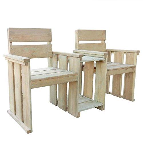 Festnight Gartenstuhl Balkonstuhl Gartenbank Loveseat mit Tisch 150 x 55 x 89 cm Imprägniertes Kiefernholz
