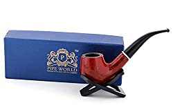 Pipe World Red Tobacco Smoking Pipe with Pipe Stand.