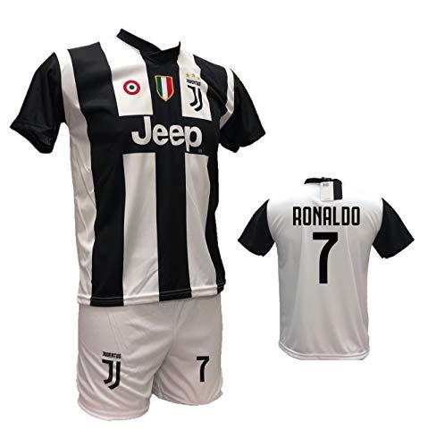 Completo maglia juventus bianconera cristiano ronaldo 7 + pantaloncino bianco personalizzabile con numero 7 replica autorizzata 2018-2019 taglie da bambino e adulto (8 anni)
