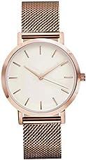 Frauen-Kristall-Edelstahl-analoge Quarz-Armbanduhr-unbedeutende keine Zahl-zufälliger Ledergürtel-Rosen-Goldarmband