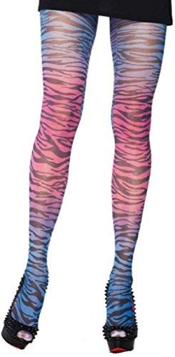 umpfhose Nylon 70 DEN Regenbogen mit Zebra Print Einheitsgröße 36 bis 40 ()