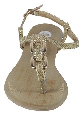 Blonna - coole Sandale mit Metallsteinen Pailetten Knöchelriemchen Schaft Zehentrenner LederOptik Damen Sommer Schuhe 36 37 38 39 40 41 Gold Karo Steine - Gold
