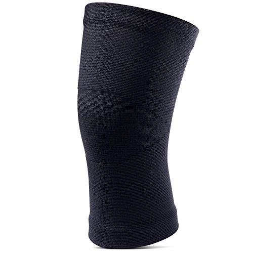 [Kompression Kniebandage] FREETOO elastische und nahtlose kniestütze power knee sleeve für Damen und Herren auf Joggen Radsport und Ballsport anwenden, Schwarz L