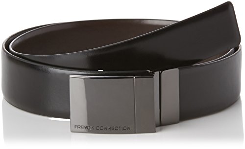 French Connection Reversable Plate, Cintura Uomo, Colore Nero (Black/Brown), Taglia 38""