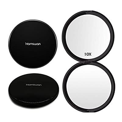 HAMSWAN Compact Makeup Mirror Pocket Mirror Handheld 1X/10X Magnifying Portable Foldable Double Sided Mirror for Wedding Birthday Anniversary Gift and Travel (Black) - cheap UK light store.