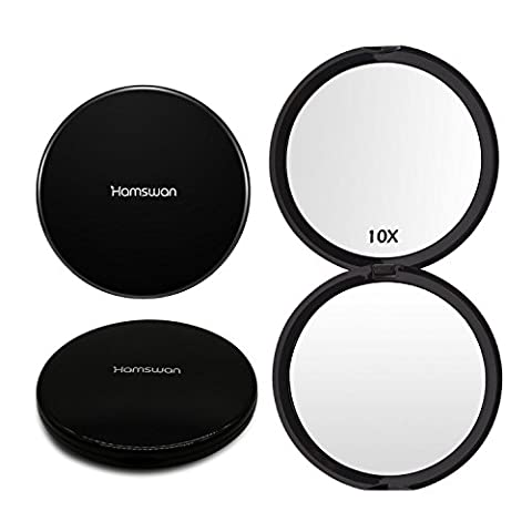HAMSWAN Compact Makeup Mirror Pocket Mirror Handheld 1X/10X Magnifying Portable Foldable Double Sided Mirror for Wedding Birthday Anniversary Gift and Travel (Black)