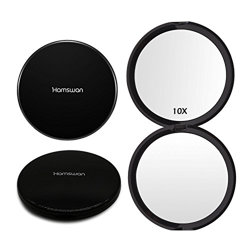 HAMSWAN Makeup Compact Mirrors Pocket Handheld Mirror 1X/10X Magnifying Portable Foldable Double Sided Mirror 100mm Wide Illuminated Mirror for Wedding Birthday Anniversary Gift and Travel (Black)