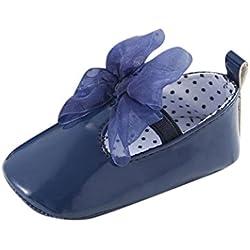 Tefamore zapatos primeros pasos bebes de antideslizante de sole suave de moda invierno de calentar de Cartoon Nudo de arco (Tamaño: 11, Azul)