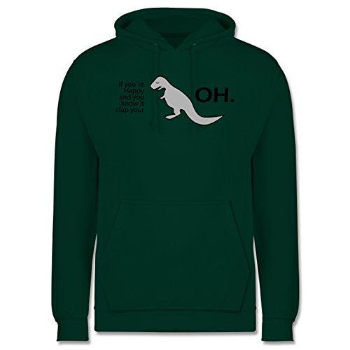 Sprüche - Dino Happy - OH - Männer Premium Kapuzenpullover / Hoodie Dunkelgrün