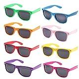 Colores Neon Articulos de Fiesta Gafas de sol de Cuadradas (8 piezas Multicolor)