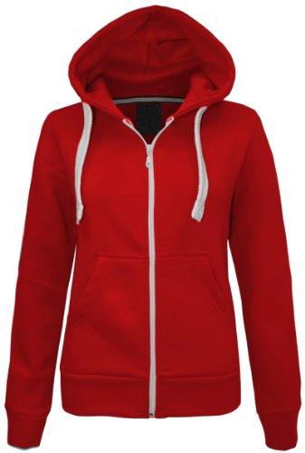 CEXI COUTURE Damen Kapuzen Sweatshirt Kapuzenpullover mit Reißverschluss Fleece Jacke - EU 40, Rot - Couture Blazer