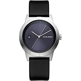 Jacob Jensen Reloj Análogo clásico para Mujer de Cuarzo con Correa en Cuero JJ151
