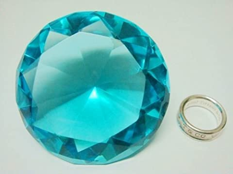 Mother's Day Special: Small Sea Mist Color Glass Crystal Diamond Shaped Paperweight 2.25 by H-M SHOP