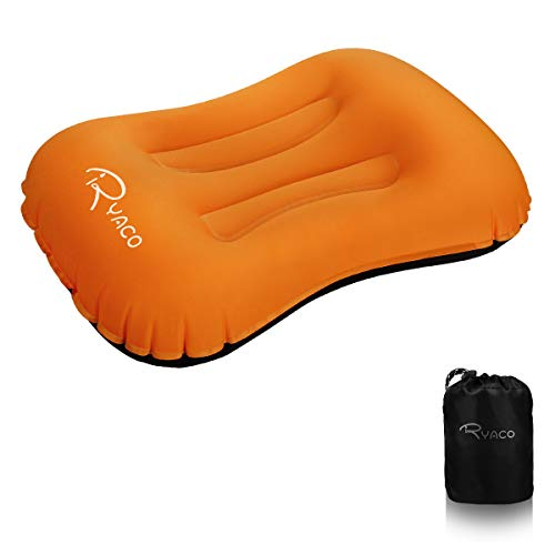 Visco Elastic-memory Foam Matratze (Ryaco Camping Kissen Leichtes Reisekissen, Aufblasbares Kopfkissen Nackenkissen, komprimierbar, kompakt, ergonomisches Camping Pillow für Camping, Reise, Draußen, Strand, Urlaubsreise, Büro)
