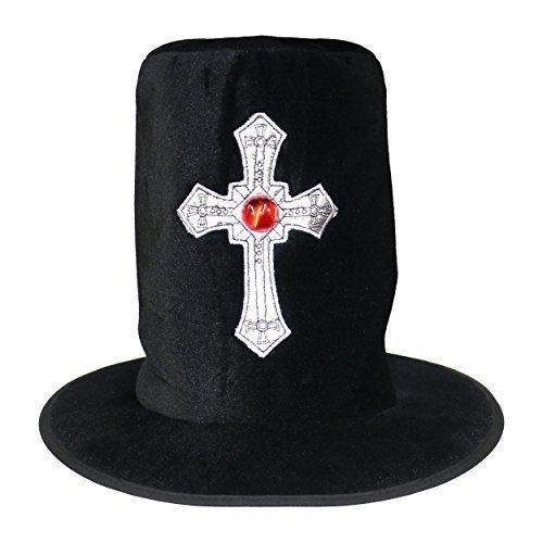 en Gothik Totengräber Undertaker Silberkreuz Zylinder (Undertaker Halloween Kostüme)