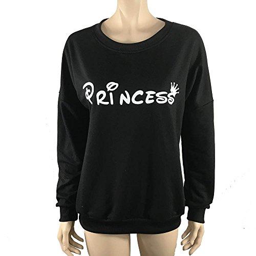 Tonsee Femmes Blouse à manches longues Lettre overs Print Sweatshirt Noir 2