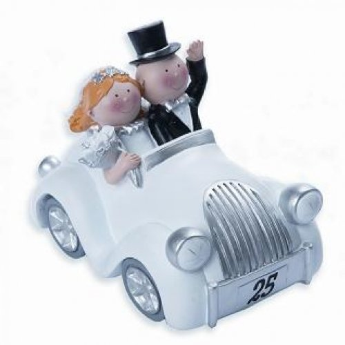 Silberhochzeit - Decorative figure for silver wedding, design of couple in a car
